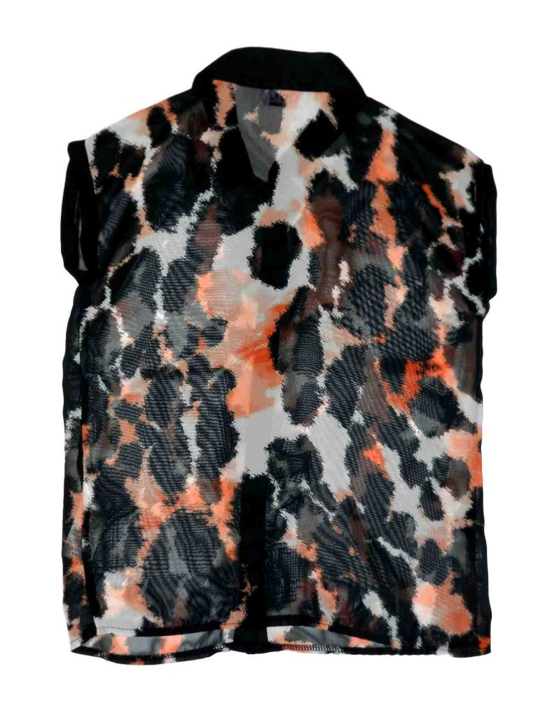 Újszerű F&F Fekete-narancssárga blúz (122-128)