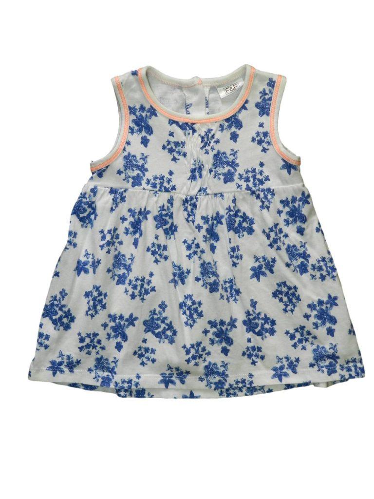 Újszerű F&F Kék virágos ruha (56-62)