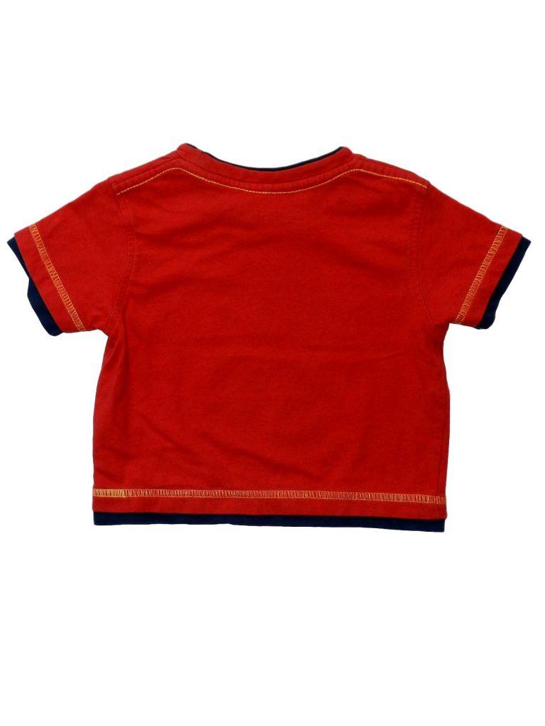 Újszerű George Piros, feliratos póló (68-74)