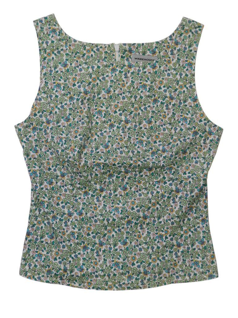 Újszerű Egyéb márka Zöld virágos ujjatlan felső (146-152)