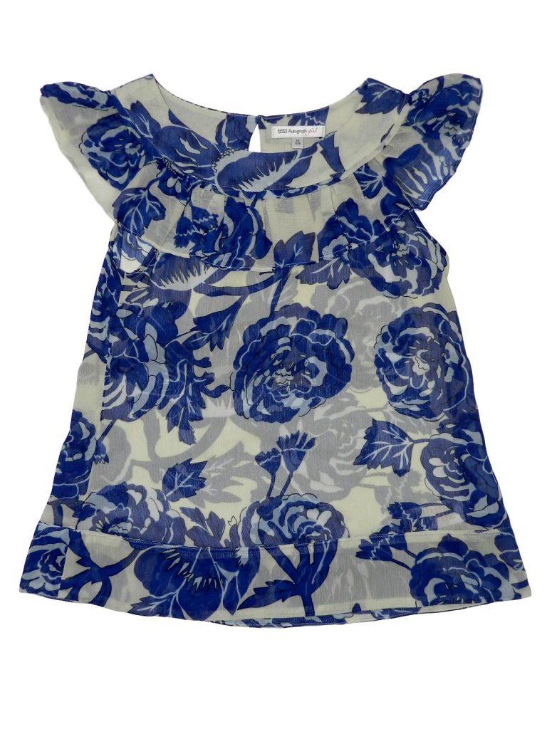 Újszerű Marks & Spencer Kék-fehér virágos felső (140)