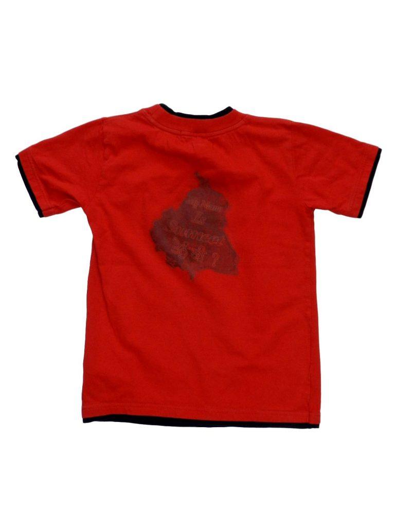 Jó állapotú Egyéb márka Piros, feliratos póló (116-122)