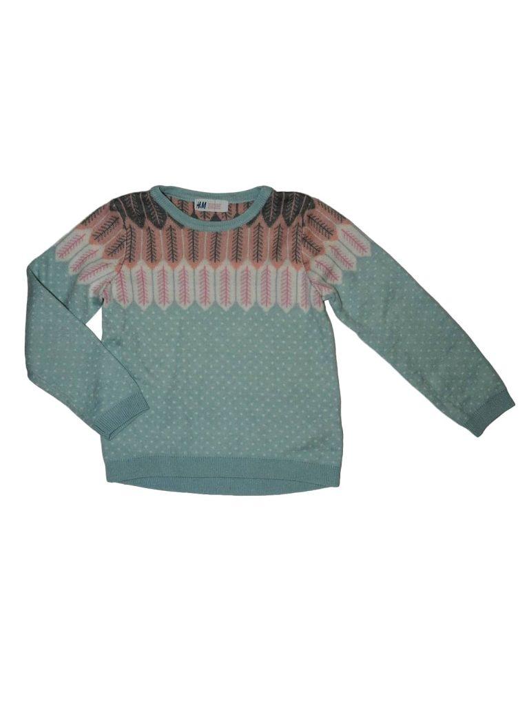 Újszerű H&M Mintás, kötött pulóver (110-116)