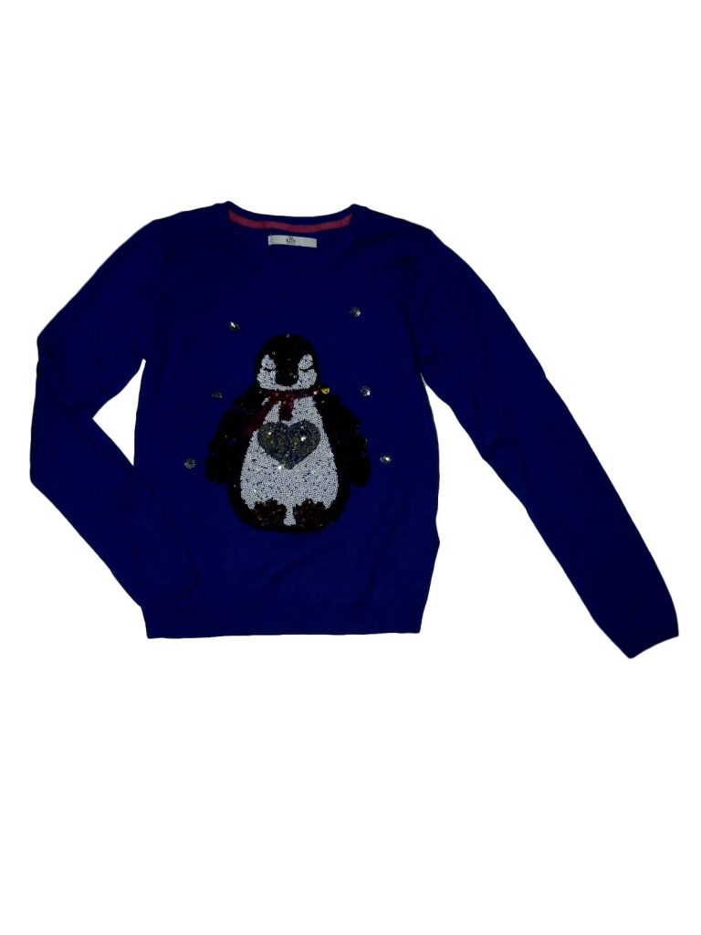 Újszerű Marks & Spencer Pingvines, flitteres pulóver (140-146)