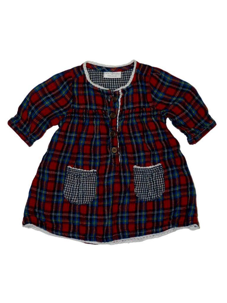 Újszerű Next Skót kockás ruha (50-56)