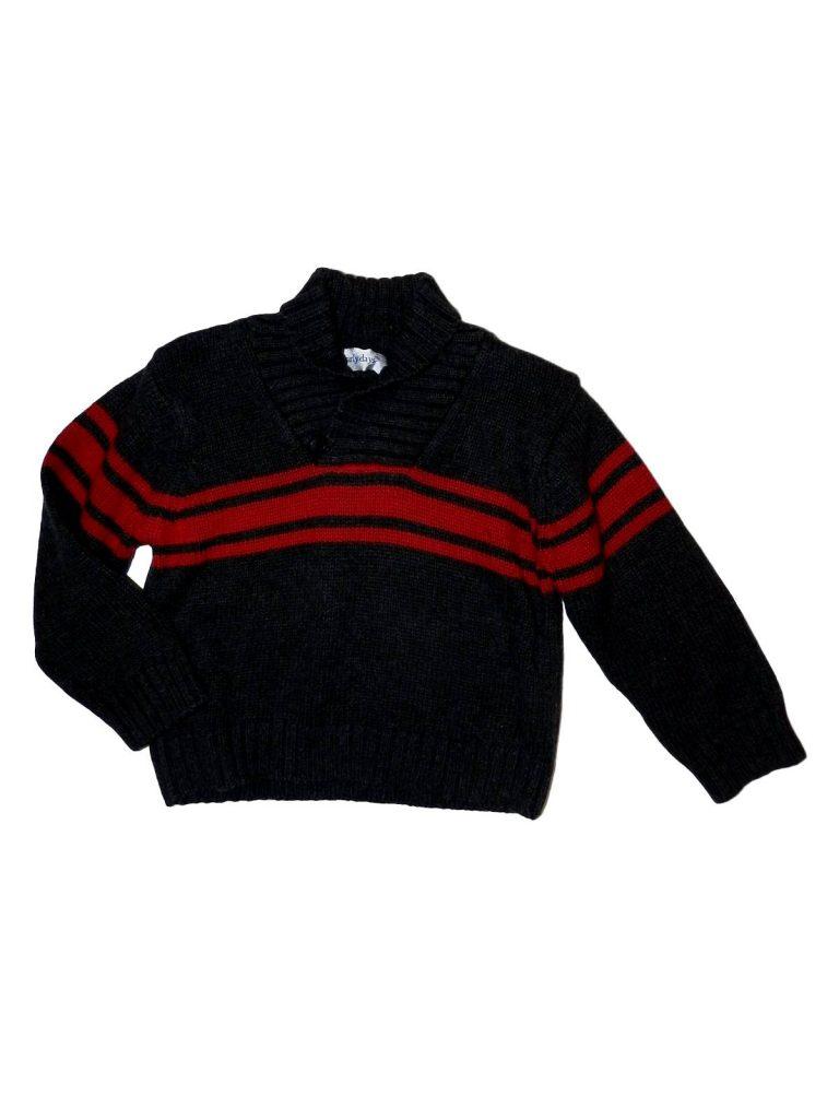 Hibátlan Early Days Szürke-piros csíkos pulóver (80-86)