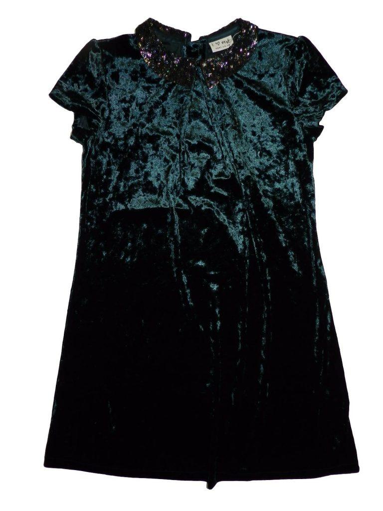 Újszerű Next Sötétzöld bársony ruha (146)