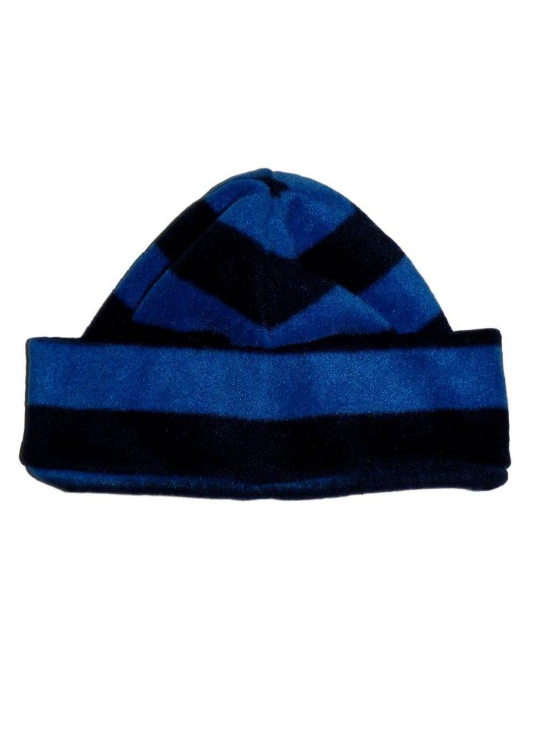 Újszerű TU Kék, csíkos polár sapka (98-116)