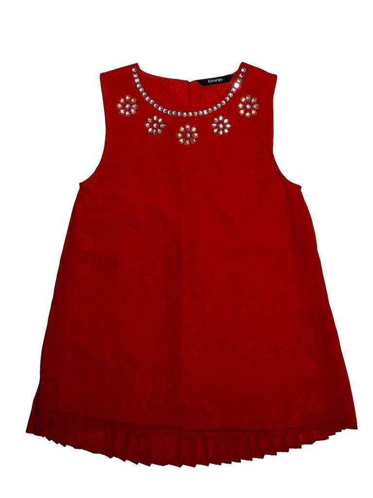Újszerű George Piros strasszos ruha (128-134) df012e27ae