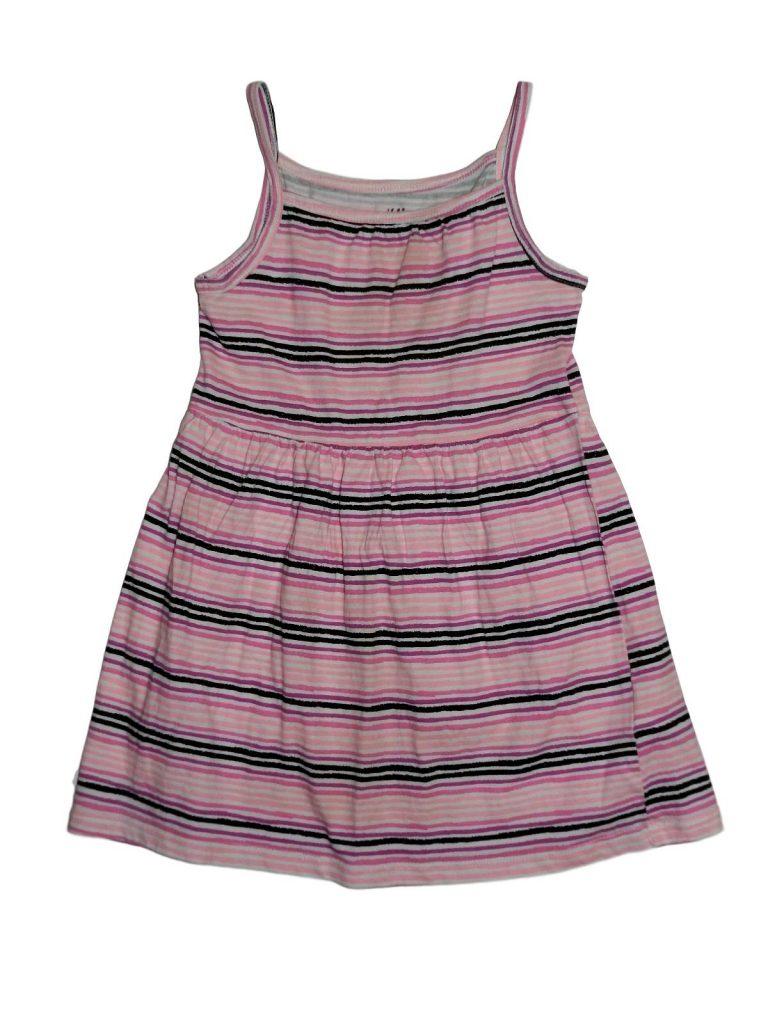 Hibátlan H&M Rózsaszín csíkos ruha (110-116)