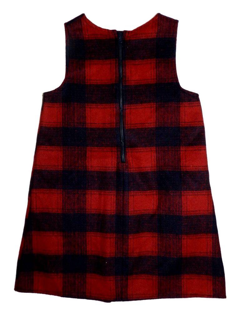 Újszerű F&F Bordó-kék kockás ruha (116-122)