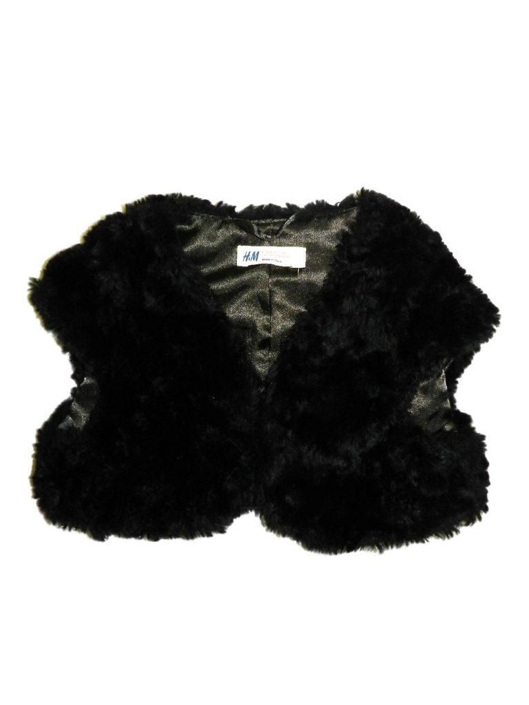 Újszerű H&M Fekete, szőrmés mellény (110-116)