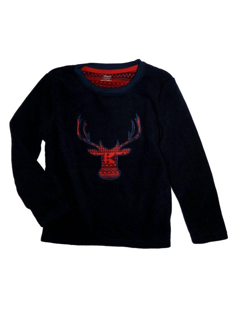 Újszerű Rebel Szarvas mintás polár pulóver (128)