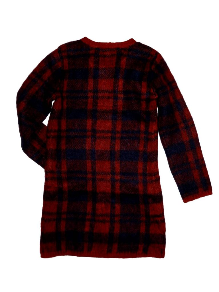 Újszerű M&Co Piros-kék kötött ruha (128-134)