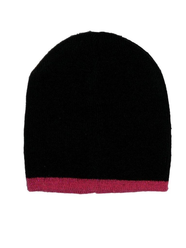 Újszerű Egyéb márka Fekete-pink kötött sapka (80-92)