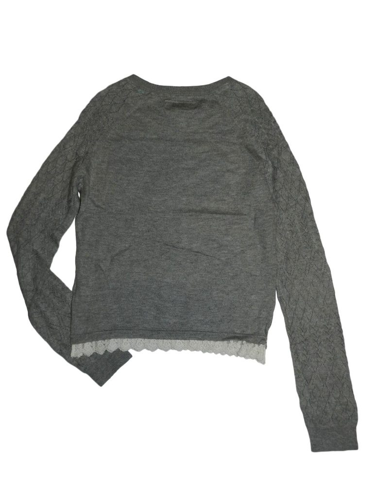 Hibátlan H&M Szürke, lukacsos pulóver (146-152)
