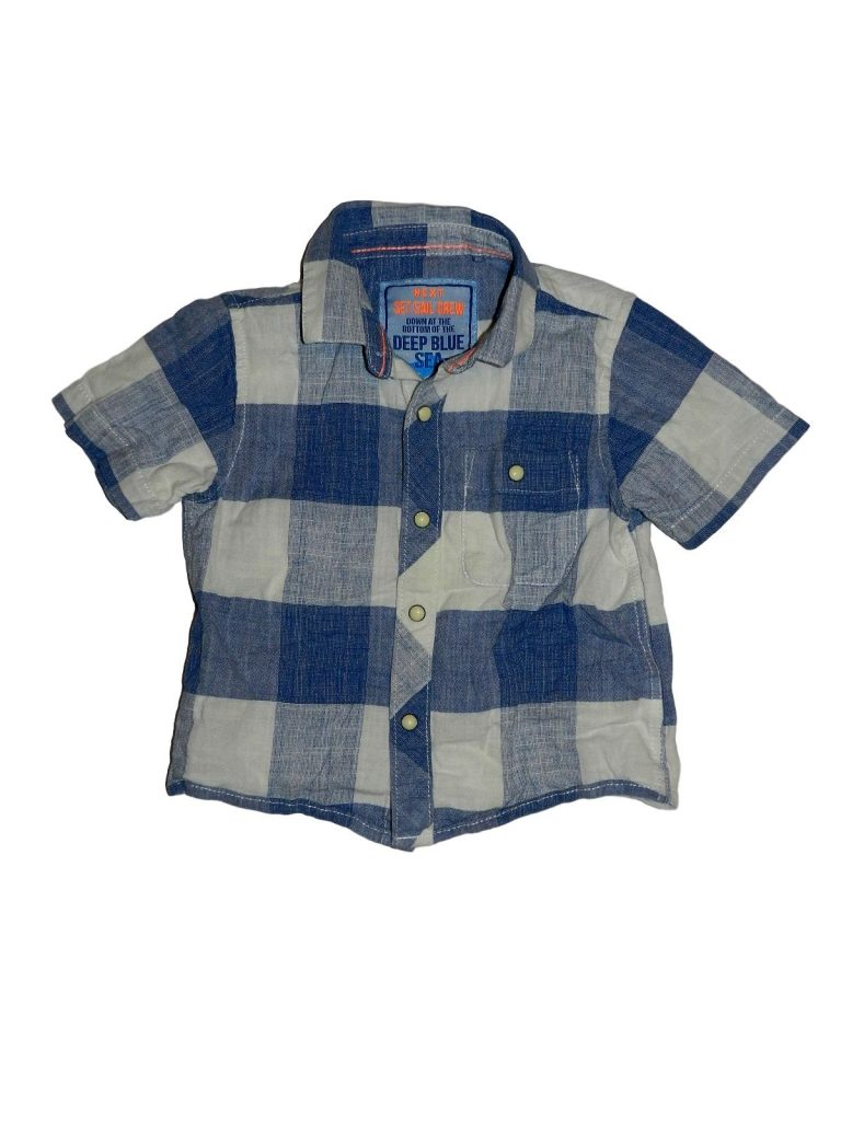 Újszerű Next Kék-fehér kockás ing (80-86)