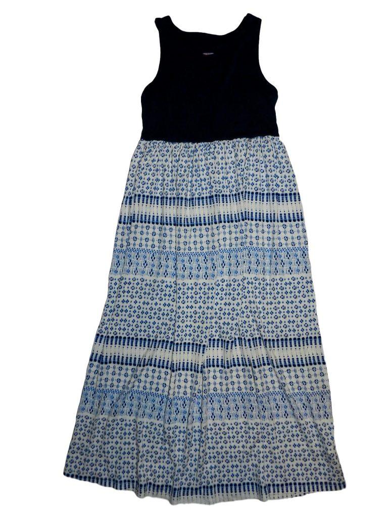 Újszerű F&F Kék-fehér mintás ruha (122-128)
