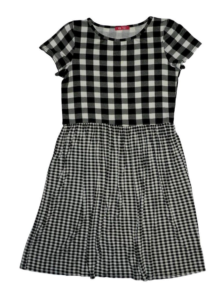 Újszerű Young Dimension Fekete-fehér kockás ruha (152-158)