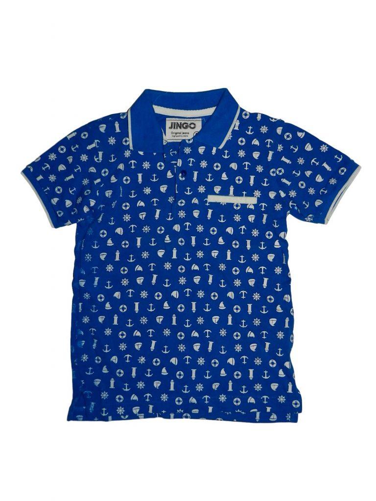 Jó állapotú Egyéb márka Kék-fehér mintás galléros póló (128)