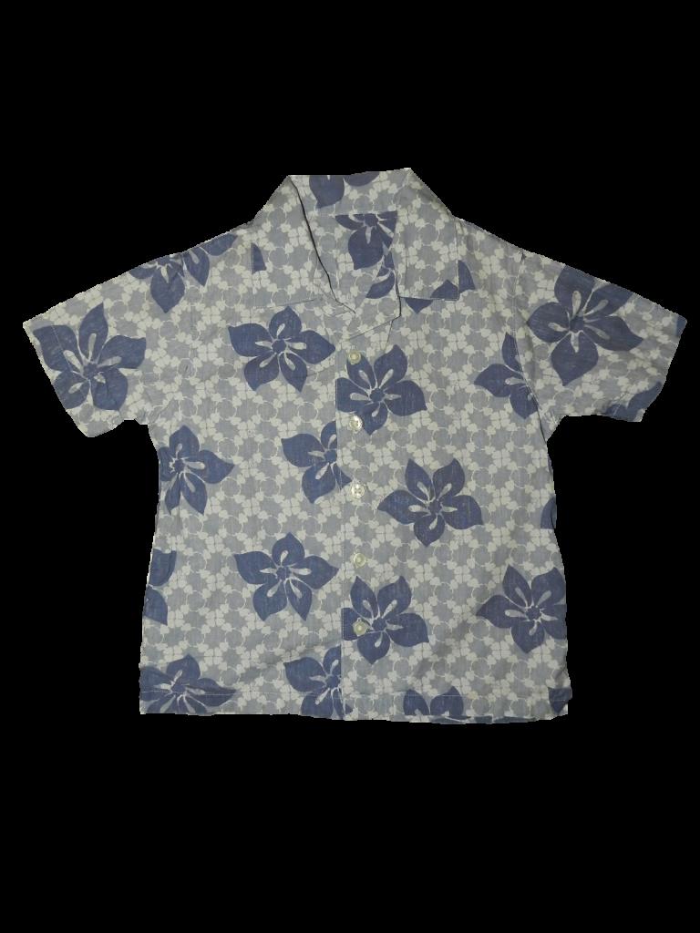 Hibátlan Mothercare Kék virágos rövid ujjú ing (98-104)